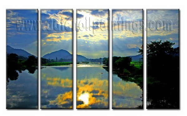 Modern Oil Paintings on canvas setting sun painting -set08003