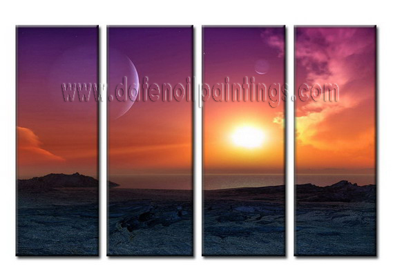 Modern Oil Paintings on canvas setting sun painting -set08030
