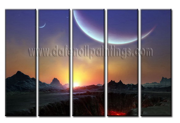 Modern Oil Paintings on canvas sunglow painting -set08037