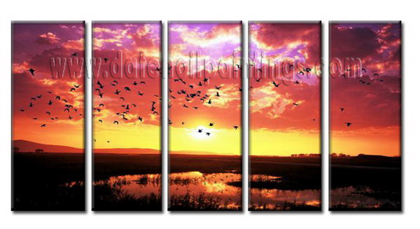 Modern Oil Paintings on canvas sunglow painting -set08062