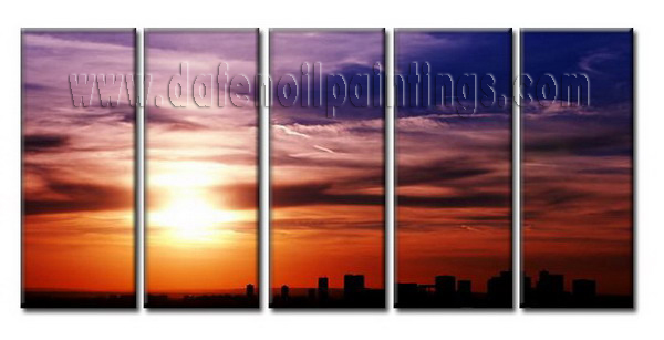 Modern Oil Paintings on canvas sunglow painting -set08063
