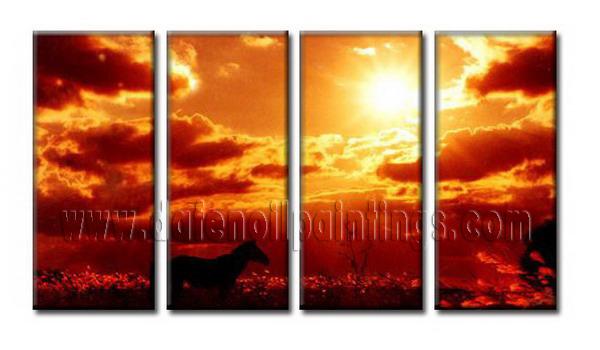 Modern setting sun oil painting