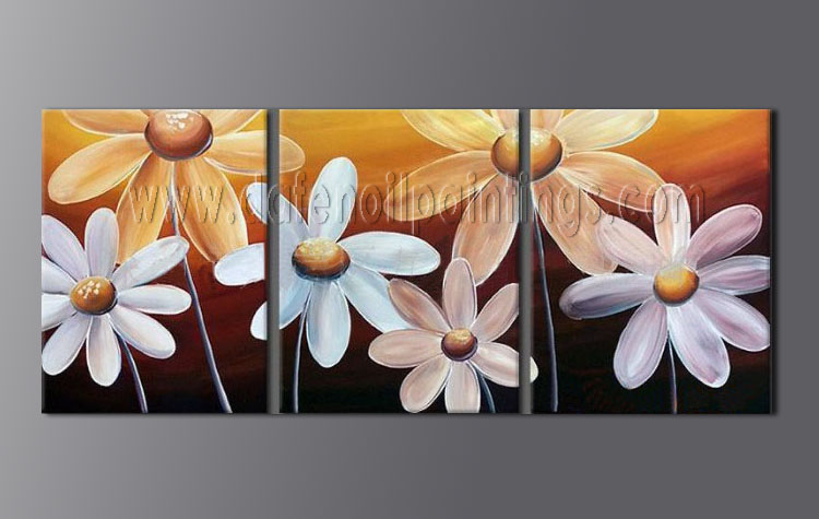 Modern oil paintings on canvas flower painting set08079 for Modern flower paintings