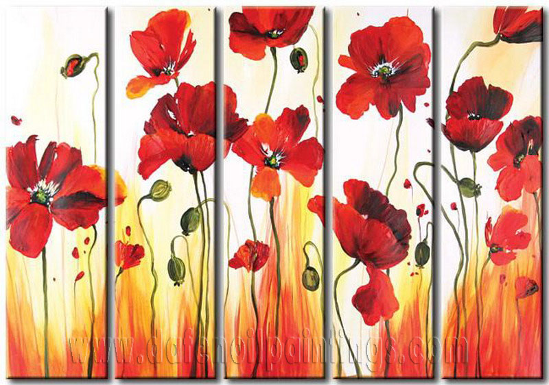 Modern oil paintings on canvas flower painting set08089 for Modern flower paintings