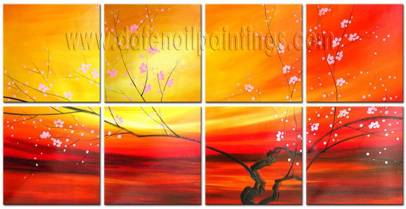 Modern Oil Paintings on canvas flower painting -set08097