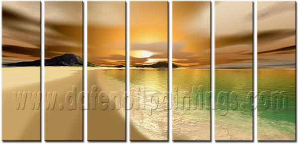Modern Oil Paintings on canvas sunset glow painting -set08143