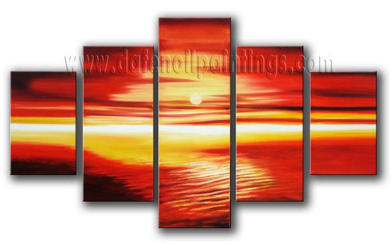 Modern Oil Paintings on canvas sunset glow painting -set08150