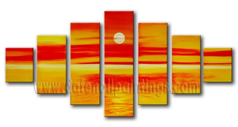Modern Oil Paintings on canvas sunset glow painting -set08153