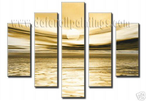 Modern Oil Paintings on canvas sunset glow painting -set08155
