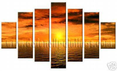 Modern Oil Paintings on canvas sunset glow painting -set08157
