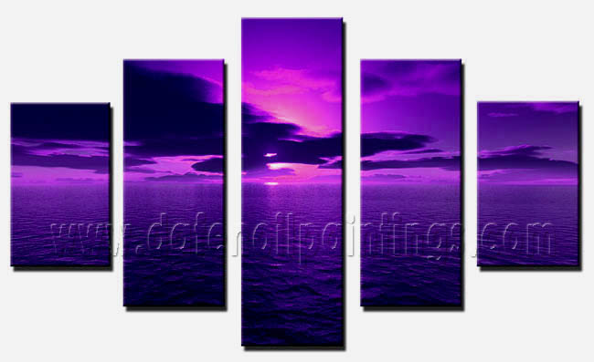 Modern Oil Paintings on canvas sunset glow painting -set08158