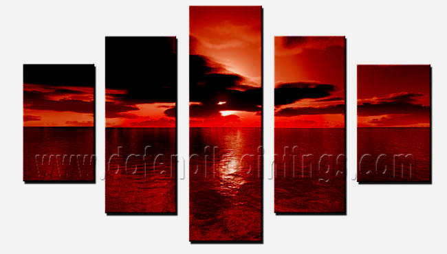 Modern Oil Paintings on canvas sunset glow painting -set08159