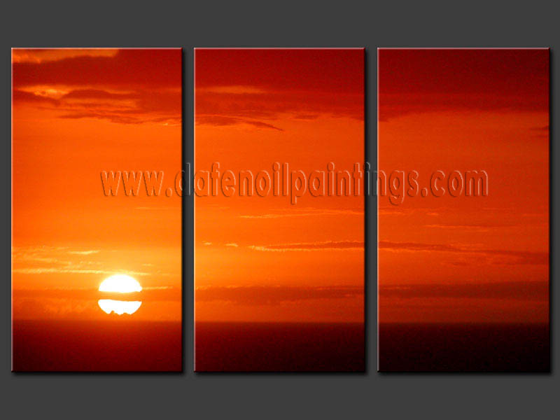 Modern Oil Paintings on canvas sunset glow painting -set08168