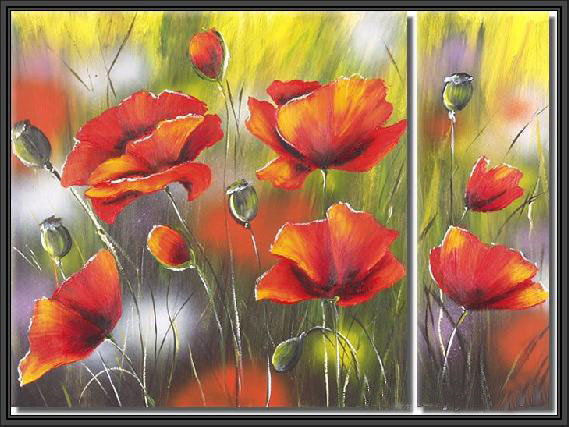 Modern oil paintings on canvas flower painting set09025 for Modern flower paintings