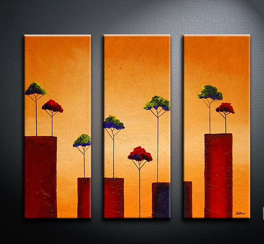 Modern Oil Paintings on canvas tree painting -set09061