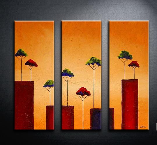 Modern oil paintings on canvas tree painting set09061