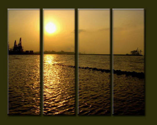 Modern Oil Paintings on canvas sunrise painting -set10032