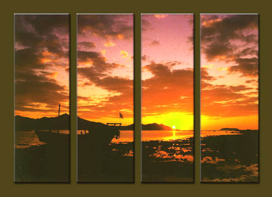 Modern Oil Paintings on canvas sunrise painting -set10034