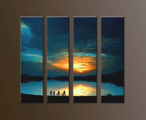 Modern Oil Paintings on canvas sunrise painting -set10046
