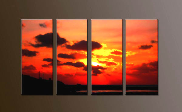 Modern Oil Paintings on canvas sunglow painting -set10052