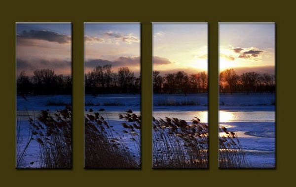 Modern Oil Paintings on canvas sunrise painting -set10067