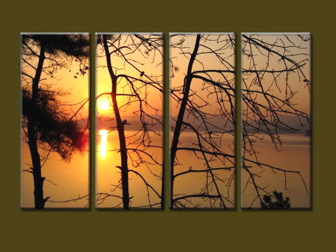 Modern Oil Paintings on canvas sunrise painting -set10079