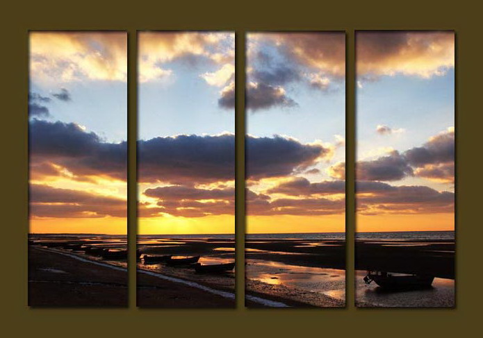 Modern Oil Paintings on canvas sunrise painting -set10082