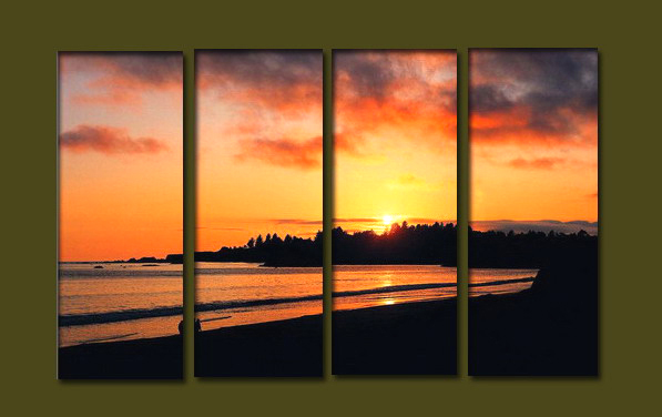 Modern Oil Paintings on canvas sunrise painting -set10084