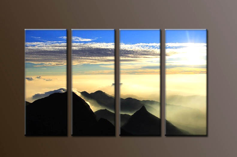 Modern Oil Paintings on canvas sunrise painting -set10108