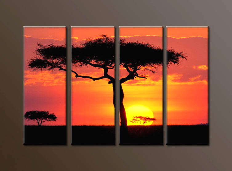 Modern Oil Paintings on canvas sunglow painting -set10115