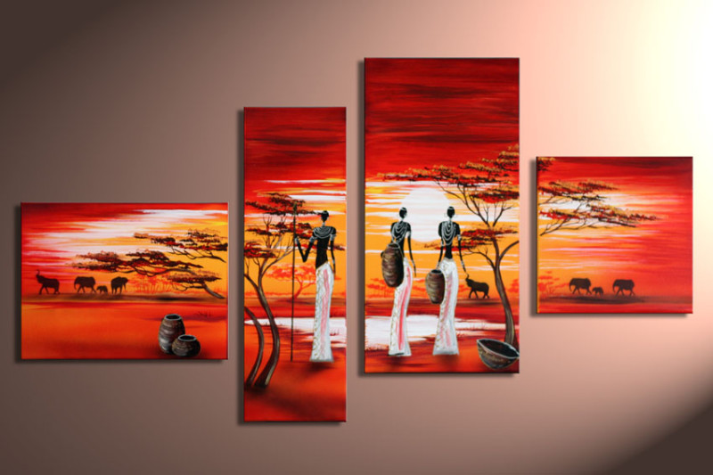 Modern oil paintings on canvas abstract painting set12049 - Cuadros de atardeceres ...