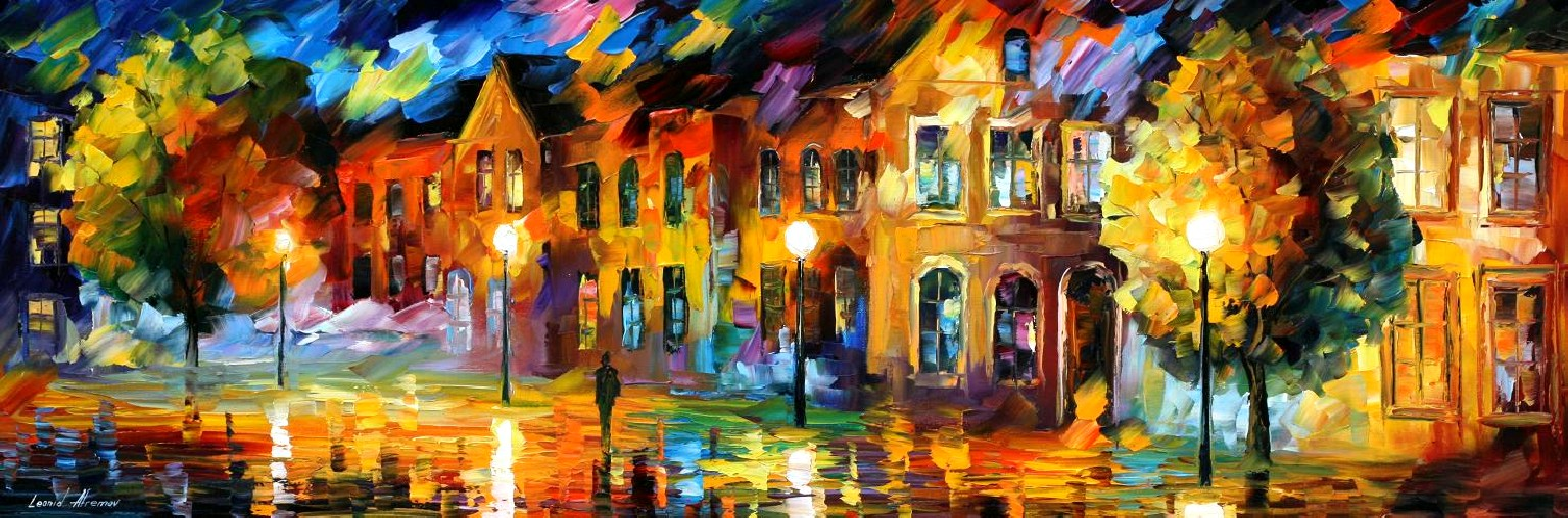 Modern impressionism palette knife oil painting City006