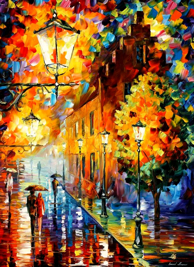 Modern impressionism palette knife oil painting City013