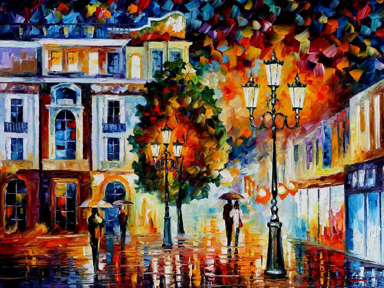 Modern impressionism palette knife oil painting City018