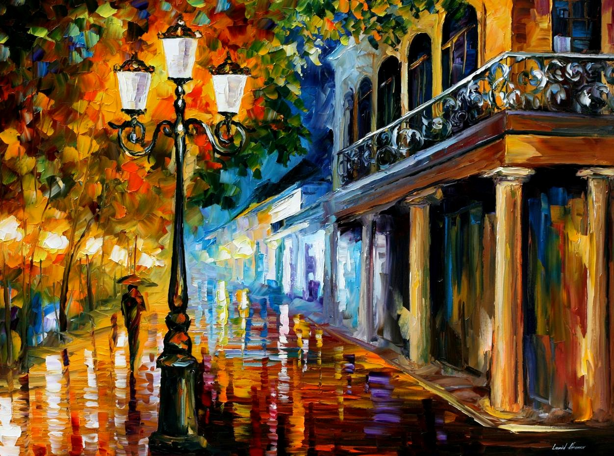 Modern impressionism palette knife oil painting City019