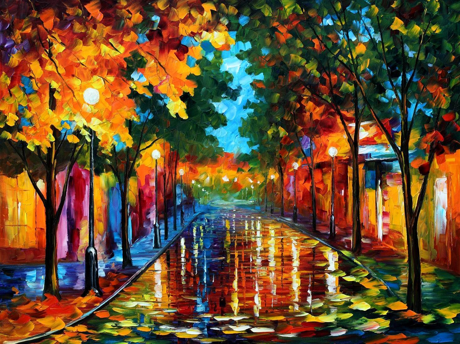 Modern impressionism palette knife oil painting City023