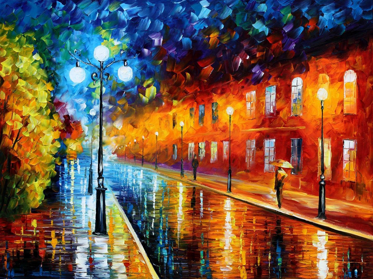 Modern impressionism palette knife oil painting City024