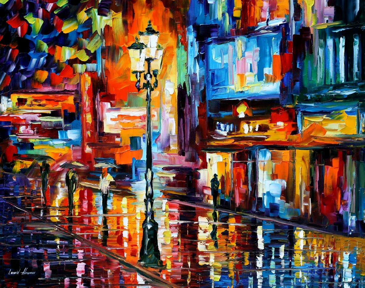 Modern impressionism palette knife oil painting City026