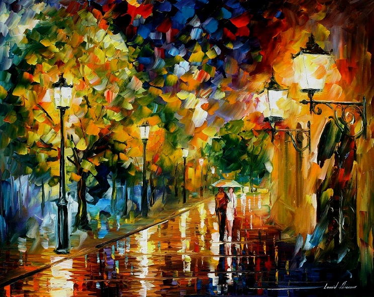 Modern impressionism palette knife oil painting City027
