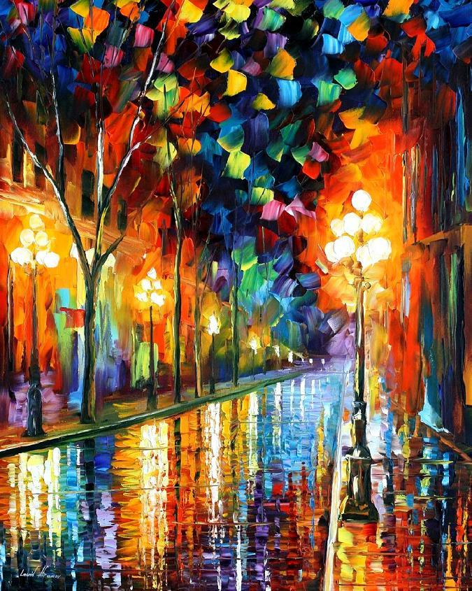 Modern impressionism palette knife oil painting City028