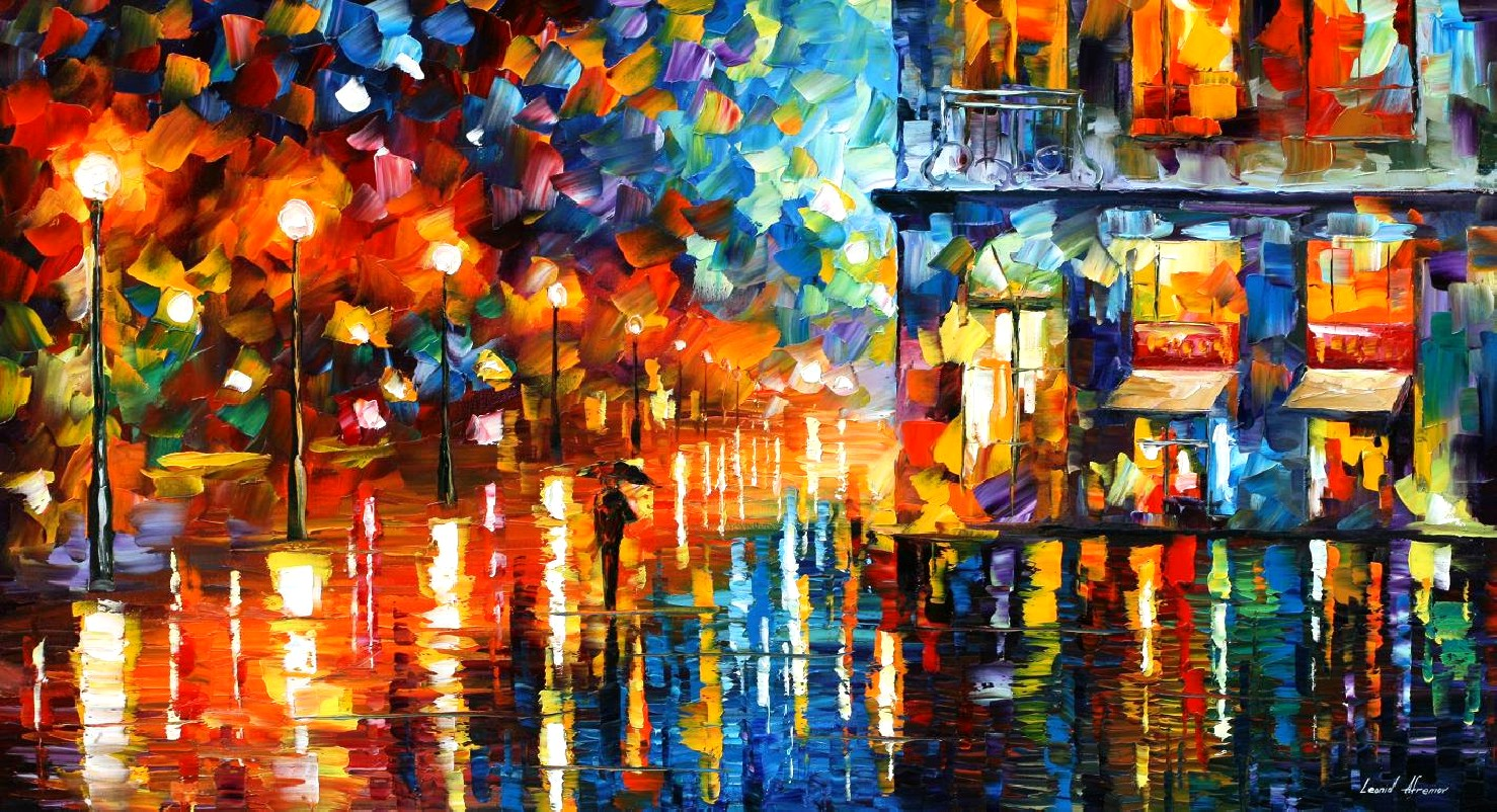Modern impressionism palette knife oil painting City031