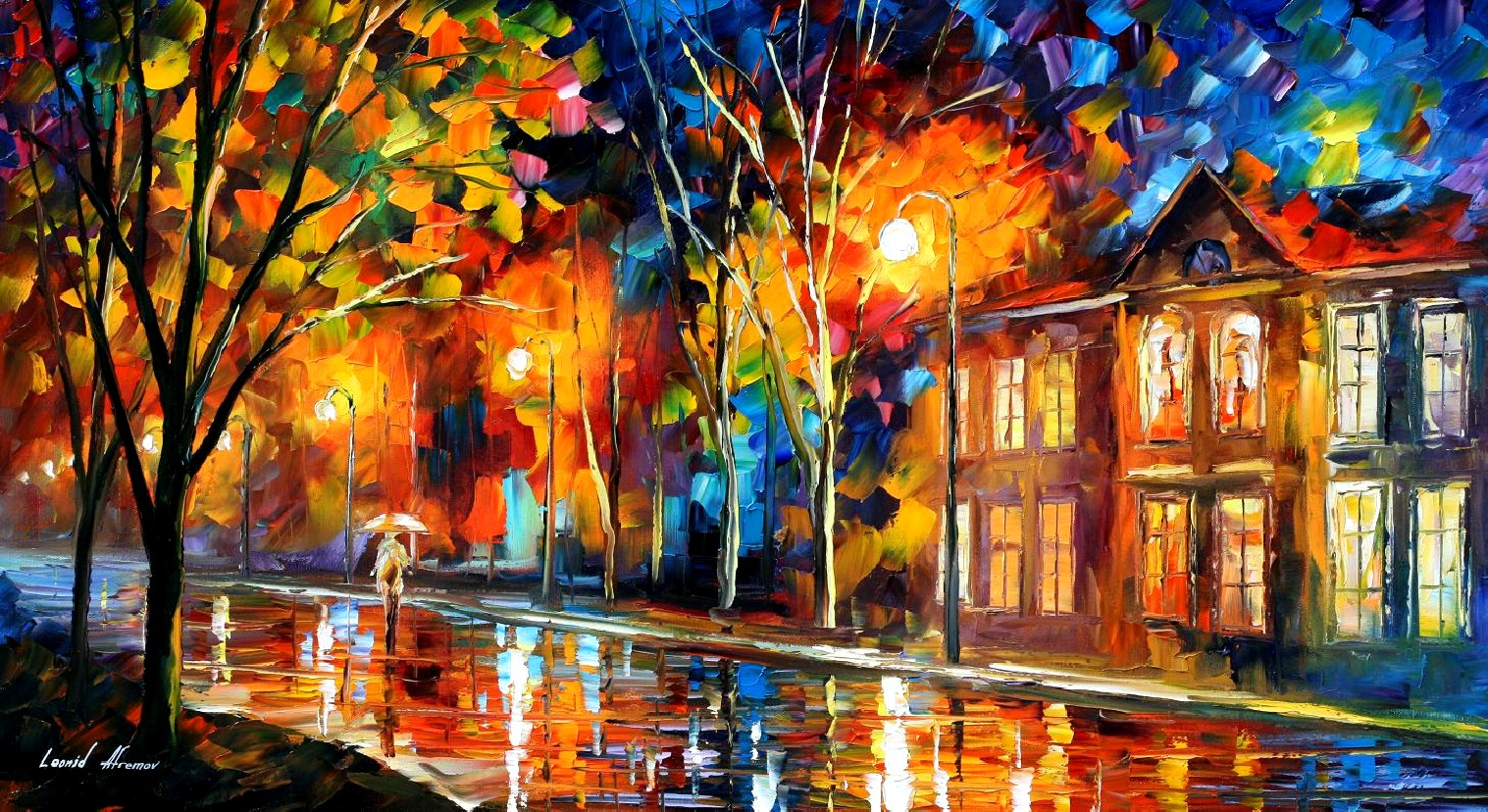Modern impressionism palette knife oil painting City032