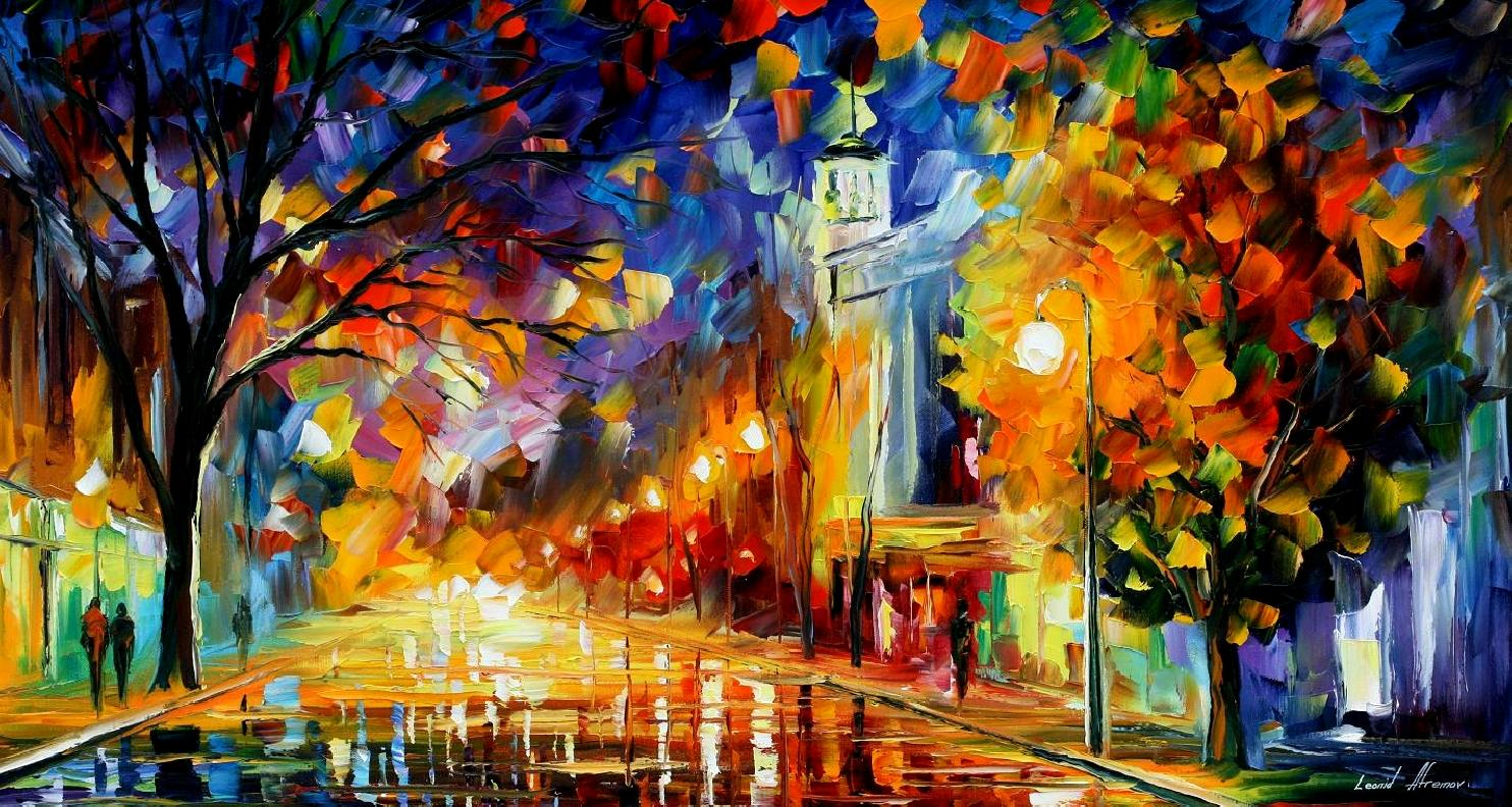 Modern impressionism palette knife oil painting City034