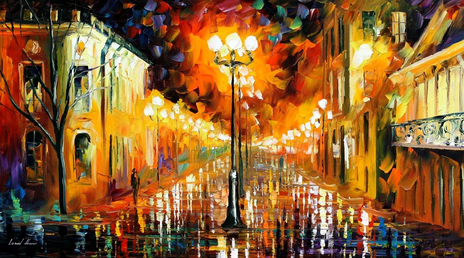 Modern impressionism palette knife oil painting City035