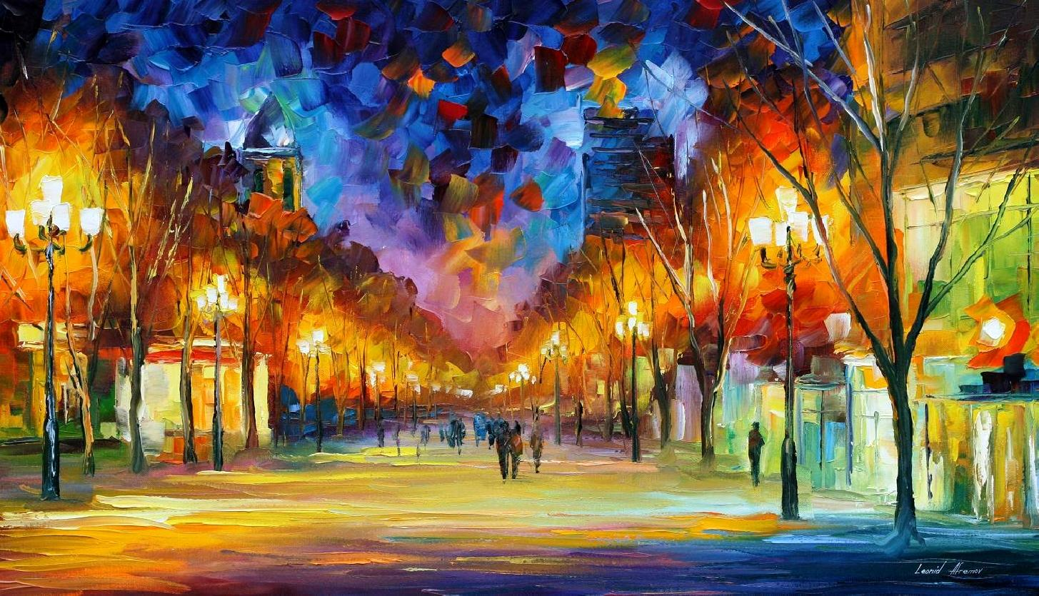 Modern impressionism palette knife oil painting City036