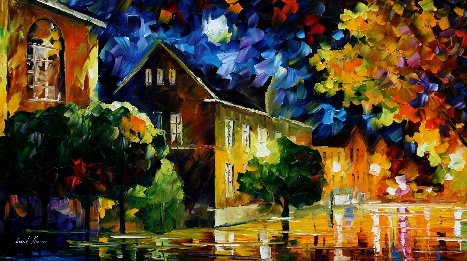 Modern impressionism palette knife oil painting City037
