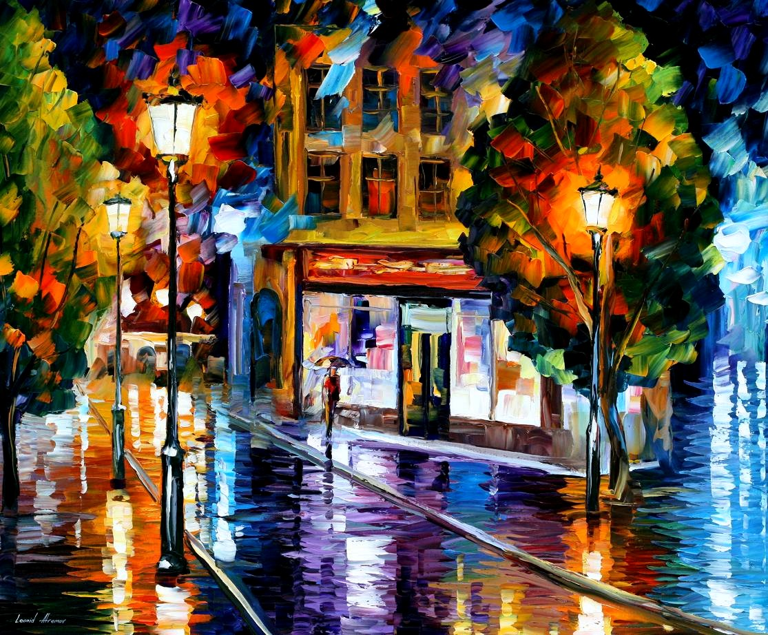 Modern impressionism palette knife oil painting City039