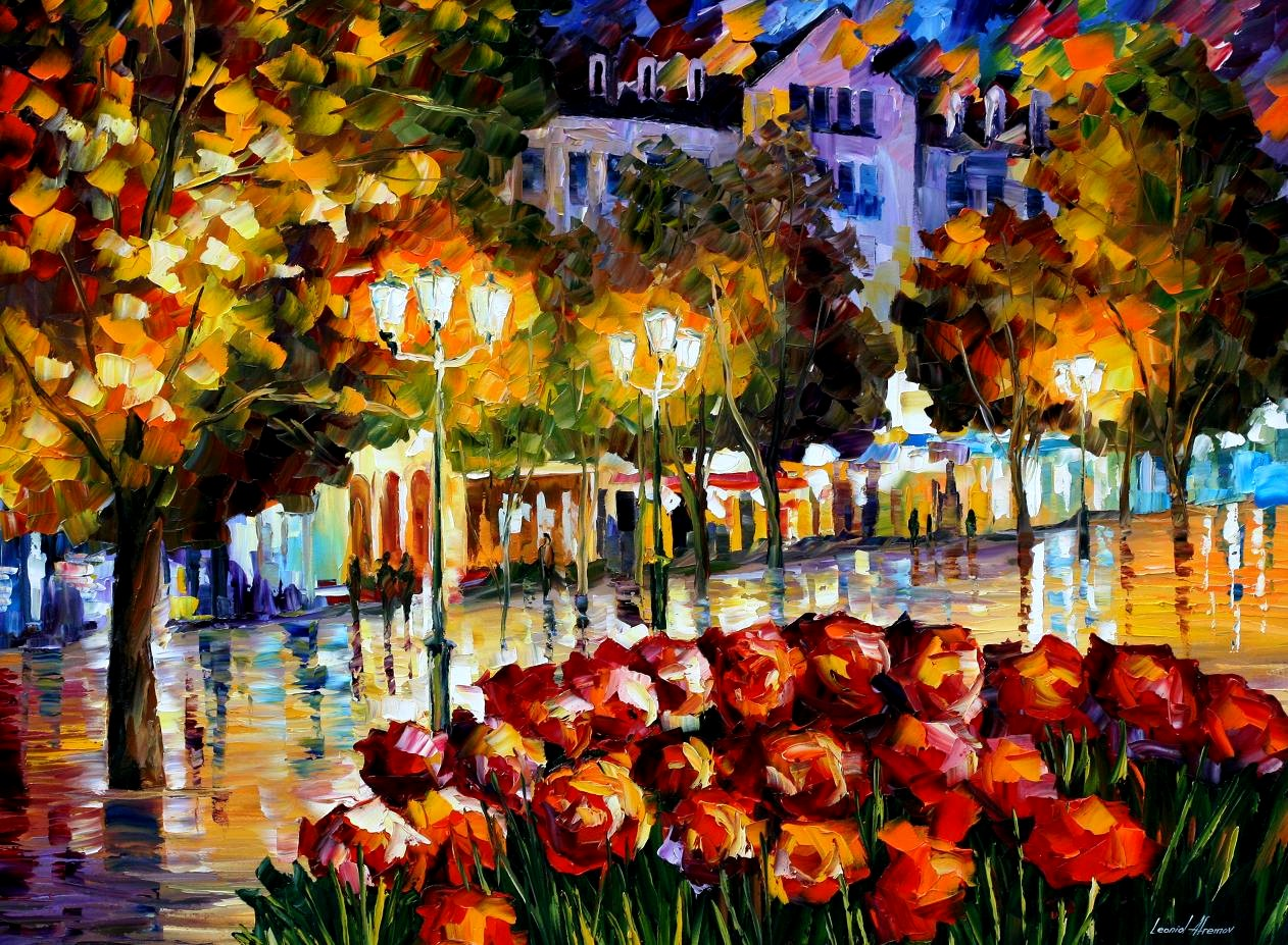Modern impressionism palette knife oil painting City040