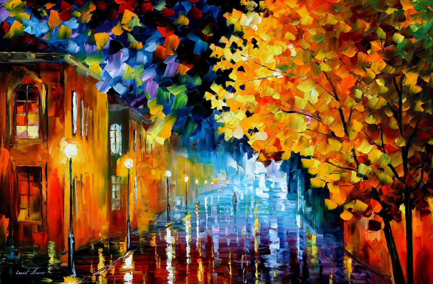 Modern impressionism palette knife oil painting City041