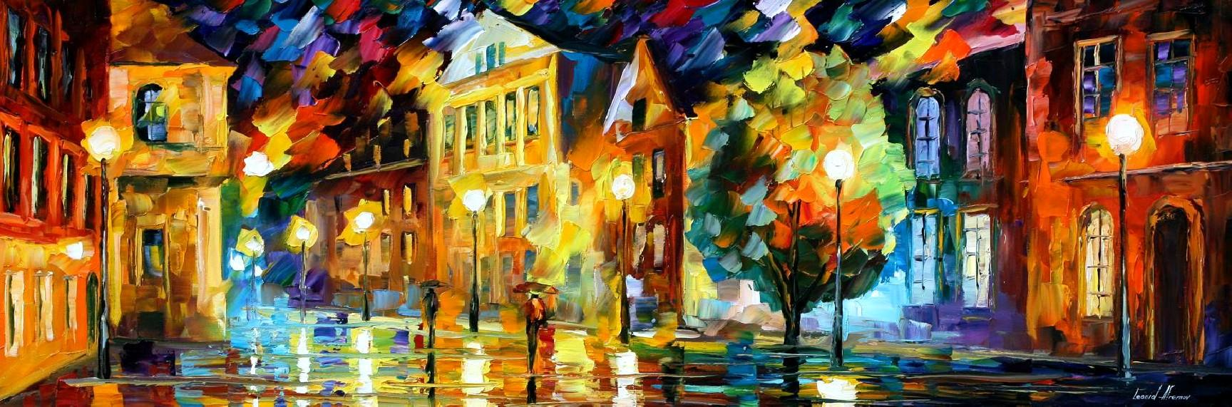 Modern impressionism palette knife oil painting City048